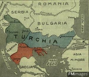 Harta që tregon coptimin e Shqipërisë, nga Greqia, dhe Serbia në vitin 1912. Territori shqiptar ishte shumë here më i madh së sa Serbia dhe Greqia, pjesa me ngjyrë të #gjelbë